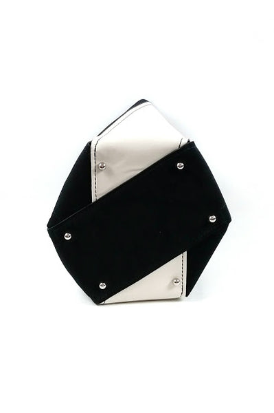 Black/White Suede/Leather Medium Hex Bucket Bag - Haute Classics