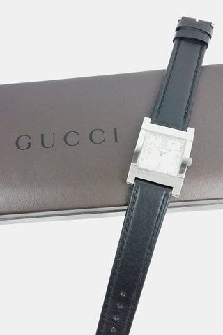 Square Face w/ Black Leather Strap 7700L Watch