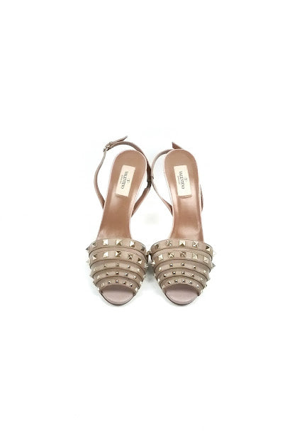 Nude Leather Rockstud Slingback Heels