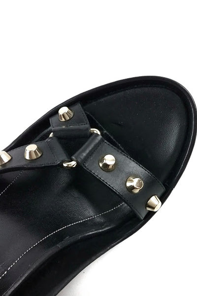 Black Leather Wedge Sandals w/ Silver Stud Detail - Haute Classics