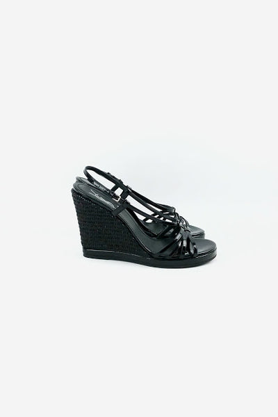 Black Patent Leather Strappy Espadrille Wedges - Haute Classics