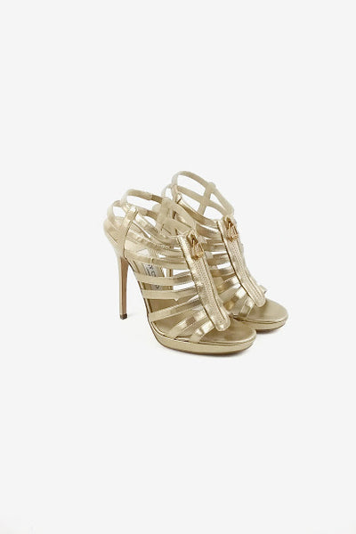 Metallic Gold Caged Sandals