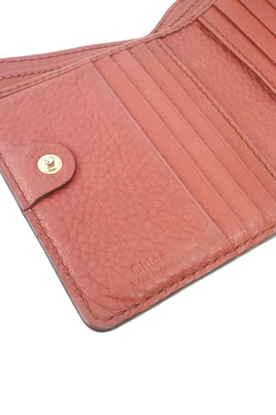 Brick Pebbled Leather Marcie Square Wallet - Haute Classics