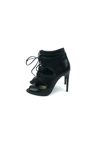 Black Leather Lace-Tie Peep Toe Booties - Haute Classics