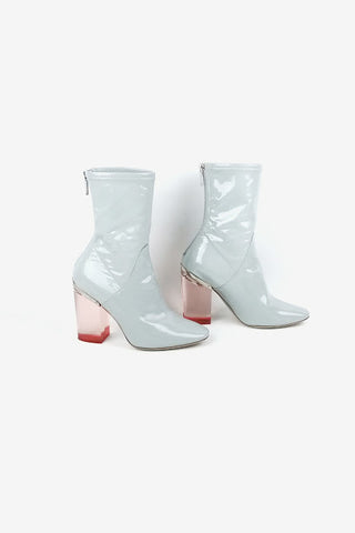 Crystal Grey Patent Leather Ankle Boots w/ Lucite Heel