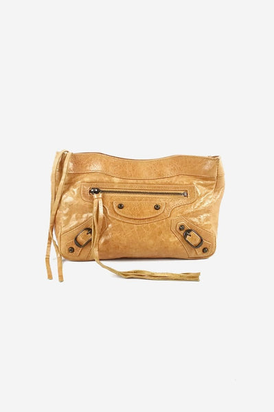 Yellow Mustard Leather City Cosmetic Pouch