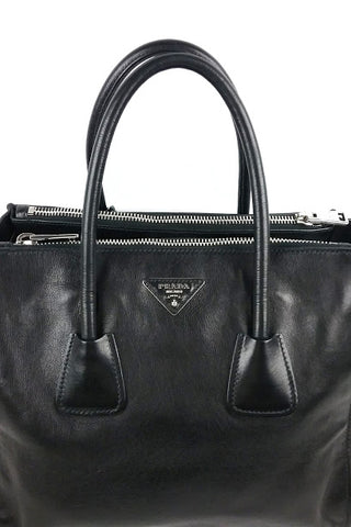 Black Calfskin Leather Twin Pocket Double Handle Tote Bag w/ Strap & Organizer Insert - Haute Classics