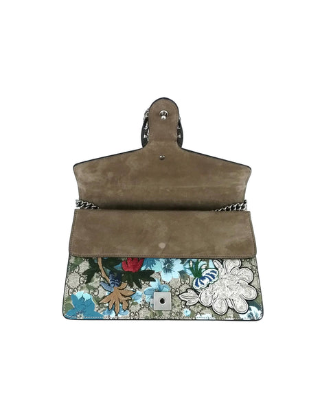 Painted Flowers and Patches GG Supreme Small Dionysus Shoulder Bag