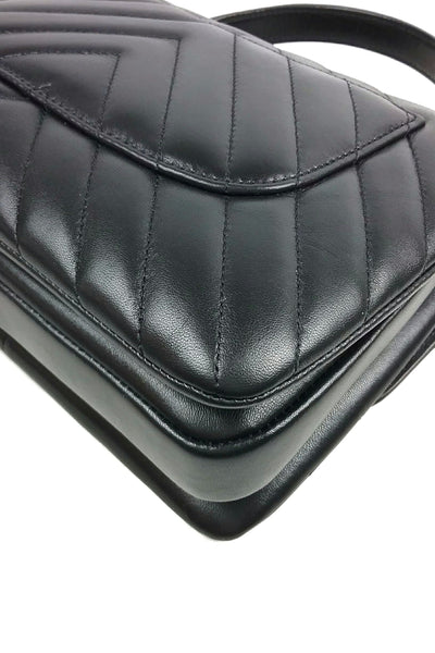 Black Lambskin Chevron Trendy Bag - Haute Classics