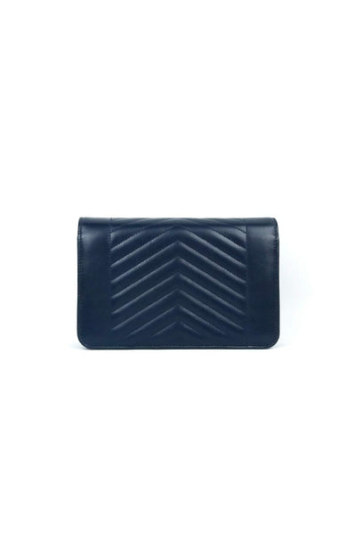 Navy Lambskin Chevron O-Mini Flap Bag MGHW
