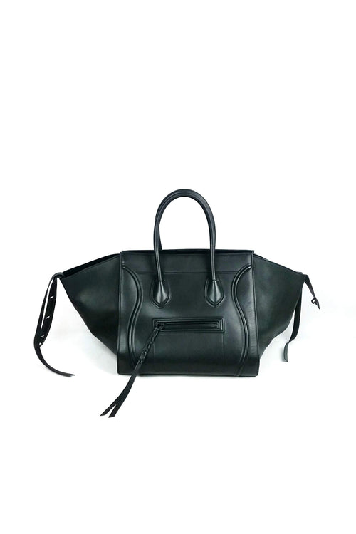 Black Drummed Leather Phantom Bag - Haute Classics