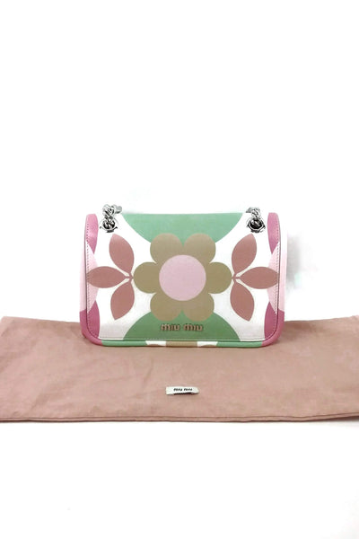 Floral Print Leather Shoulder Bag