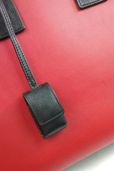 Red/Black Smooth Leather Small Sac de Jour Bag With Strap