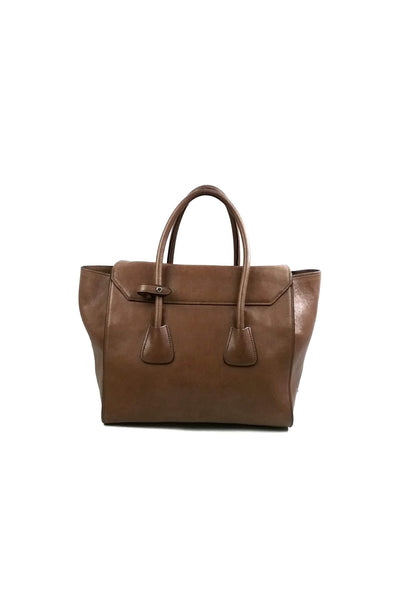 Cannella Glace Calf Leather Tote SHW w/ Lock Closure
