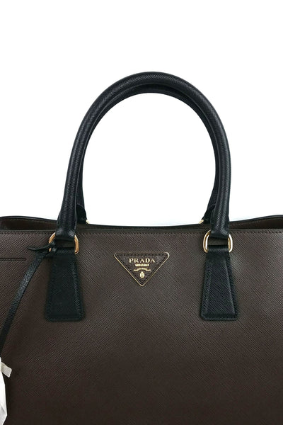Two-Tone Brown/Black Saffiano Leather Double Tote Bag & Detachable Strap