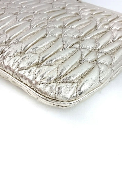 Gold Matelasse Leather Clutch w/ Detachable Leather & Crystal Straps