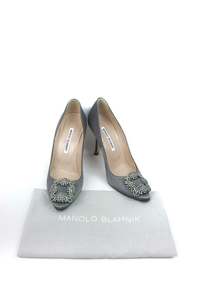Grey Satin Hangisi 105 Pumps