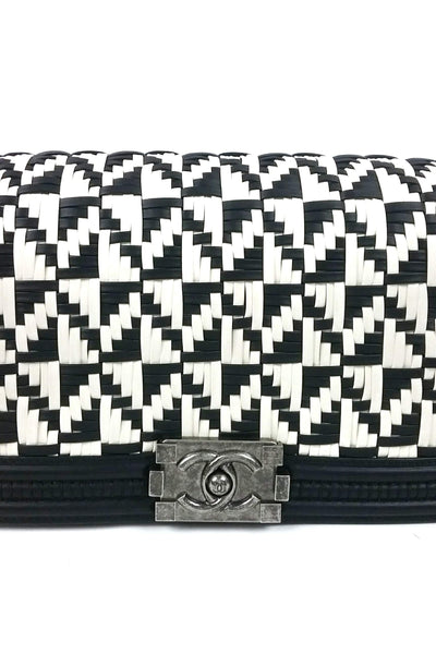 Black/White Woven Old Medium Boy Bag RHW - Haute Classics