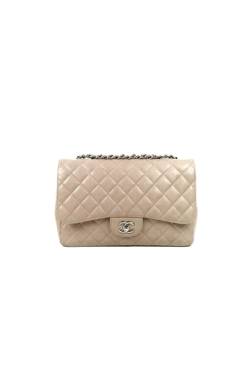21914dd116b7 Beige Caviar Single Flap Jumbo Bag SHW - Haute Classics