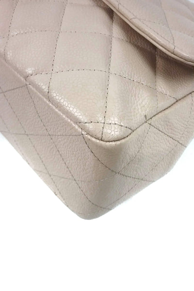 Beige Caviar Single Flap Jumbo Bag SHW - Haute Classics