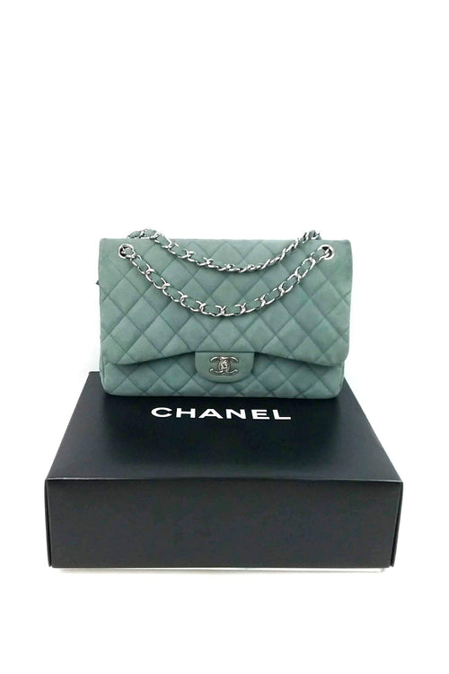 Seafoam Green Matte Caviar Double Flap Jumbo Bag SHW