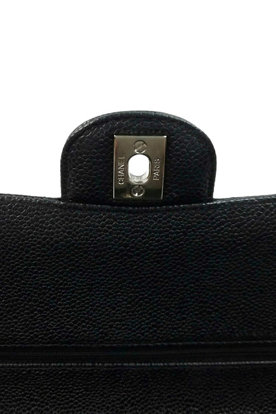 Black Caviar Medium Double Flap Bag SHW - Haute Classics