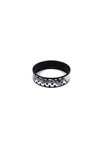 Black & White Medium Enamel Bangle PM - Haute Classics