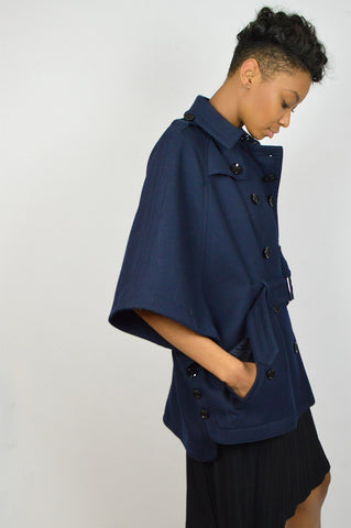 Navy Wool Belted Cape Coat - Haute Classics