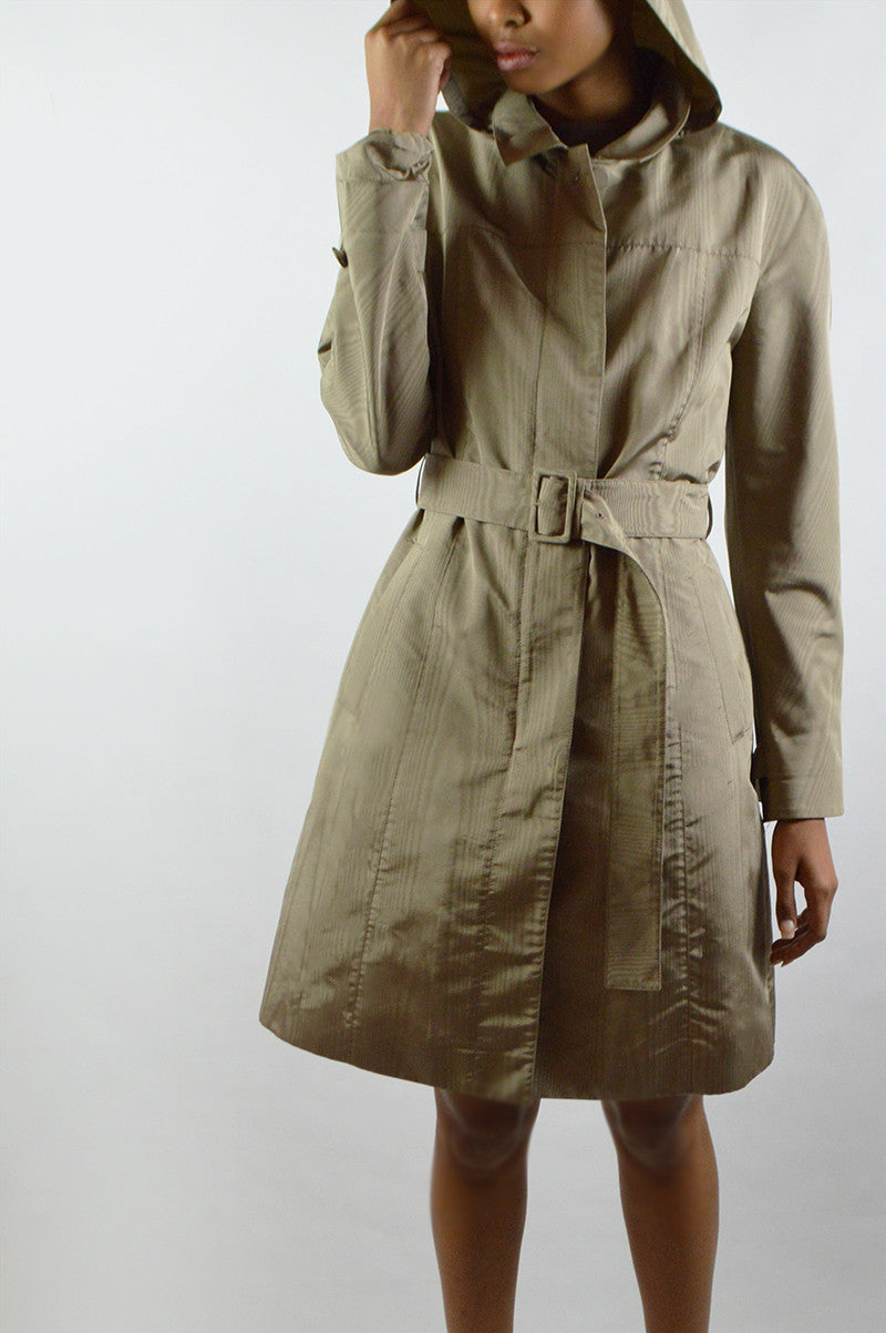 Taupe Silk Trench Coat with Detachable Hood