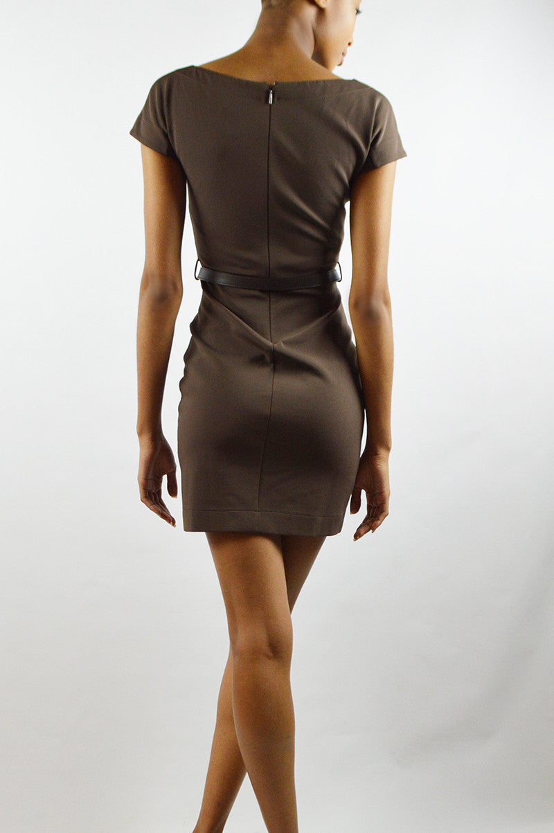 Brown Bodycon Belted Dress
