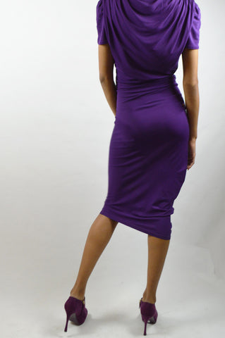 Purple Draped Cap-Sleeve Dress