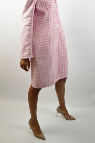 Pink Wool Check Pattern Coat - Haute Classics