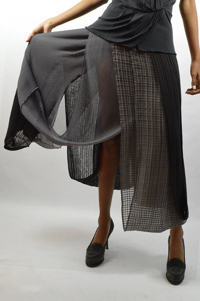 Two-Tone Gray Layered Skirt - Haute Classics