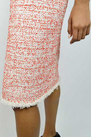 White & Red Ostrich Feather Pencil Skirt