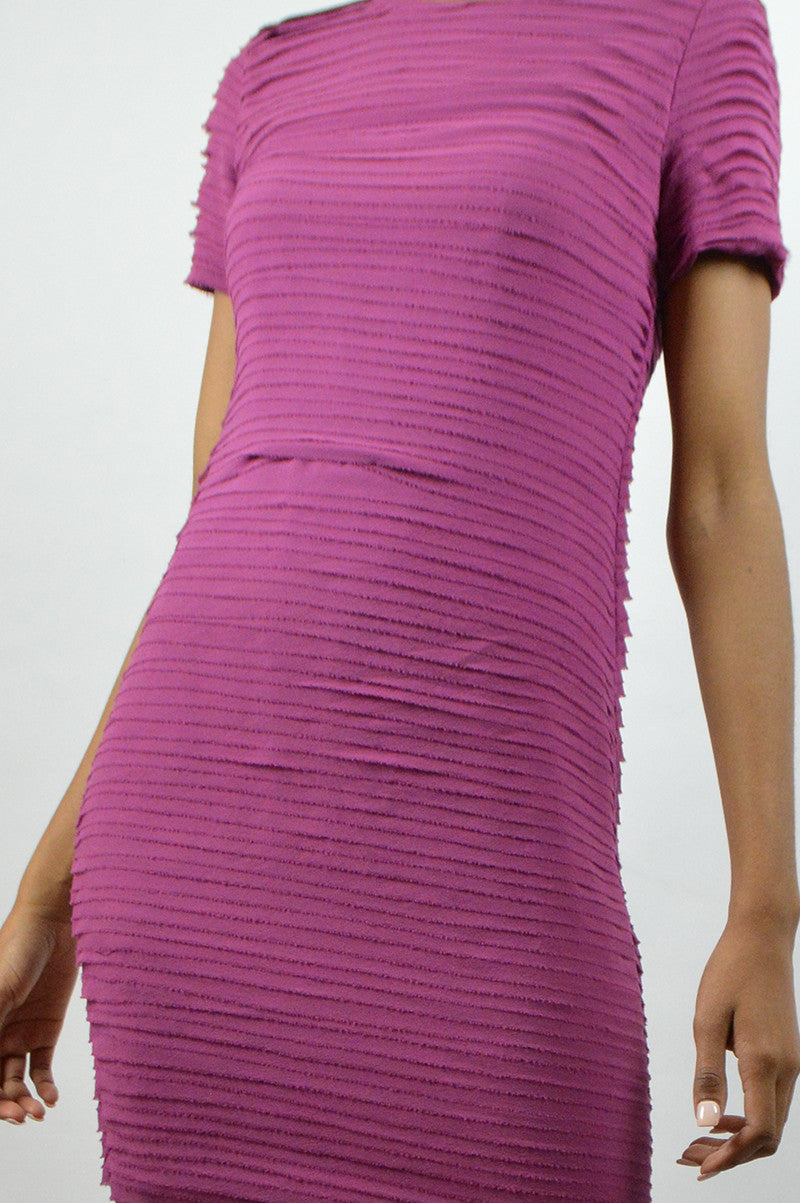 Magenta Silk Cap-Sleeve Dress - Haute Classics