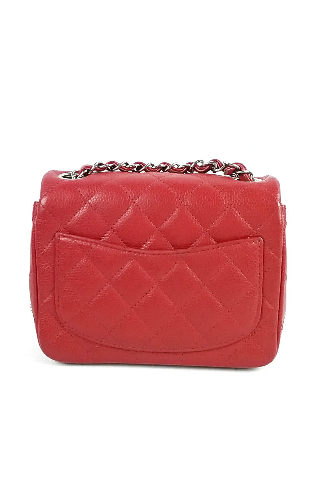 Red Caviar Quilted Mini Flap Bag