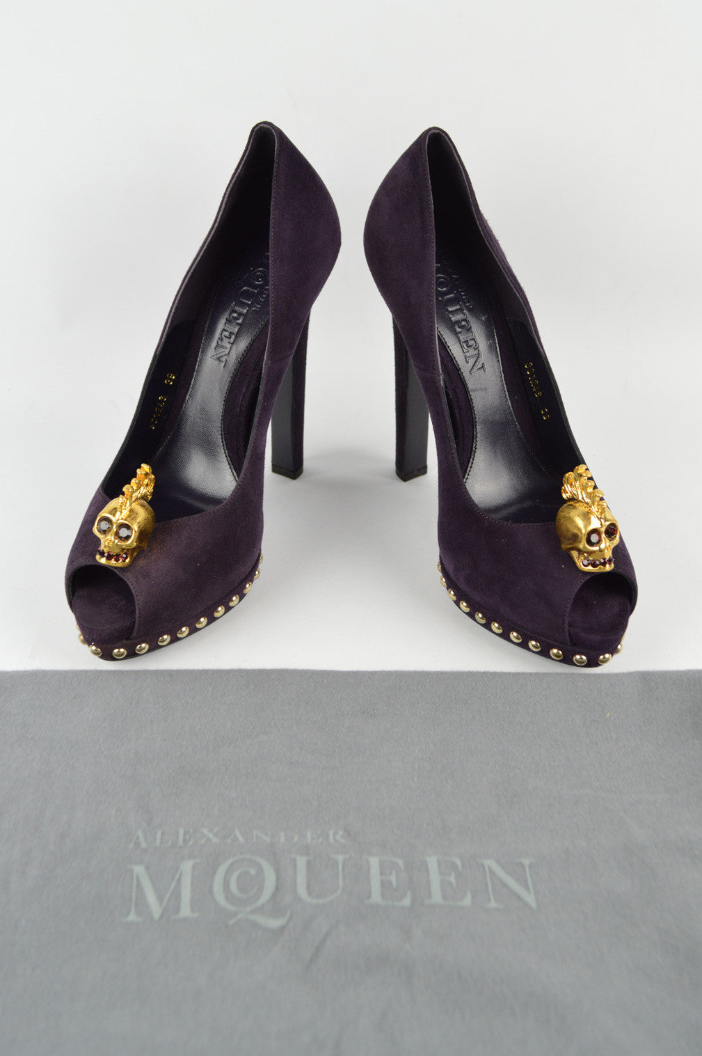 Purple Suede Peep-Toe Pump