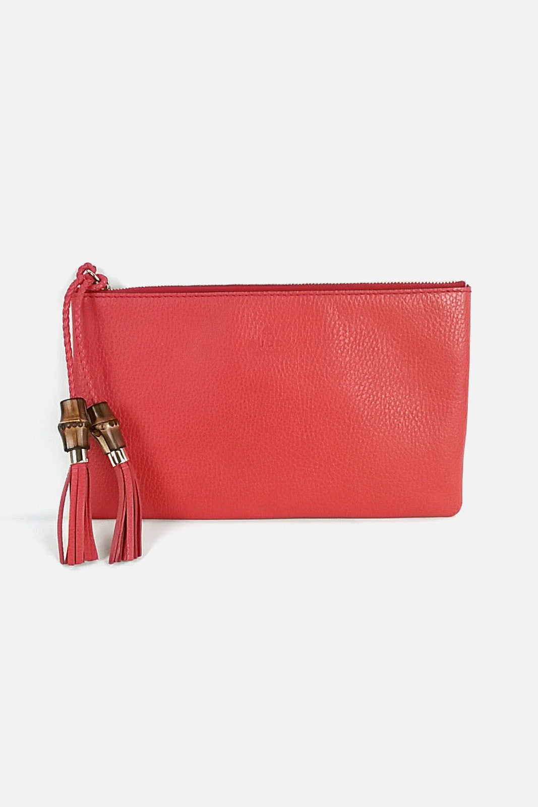 Sanguine Leather Clutch w/ Bamboo and Tassle Detail