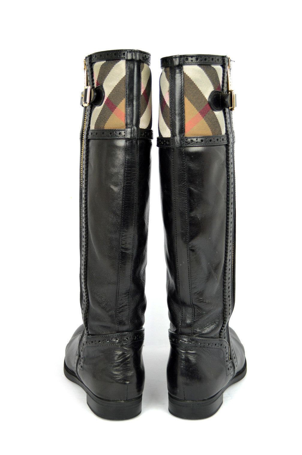 Haymarket-Check Black Leather Knee-High Boots