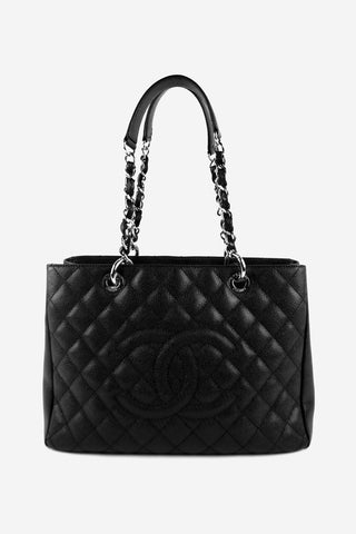 Black Caviar Leather Grand Shopping Tote SHW