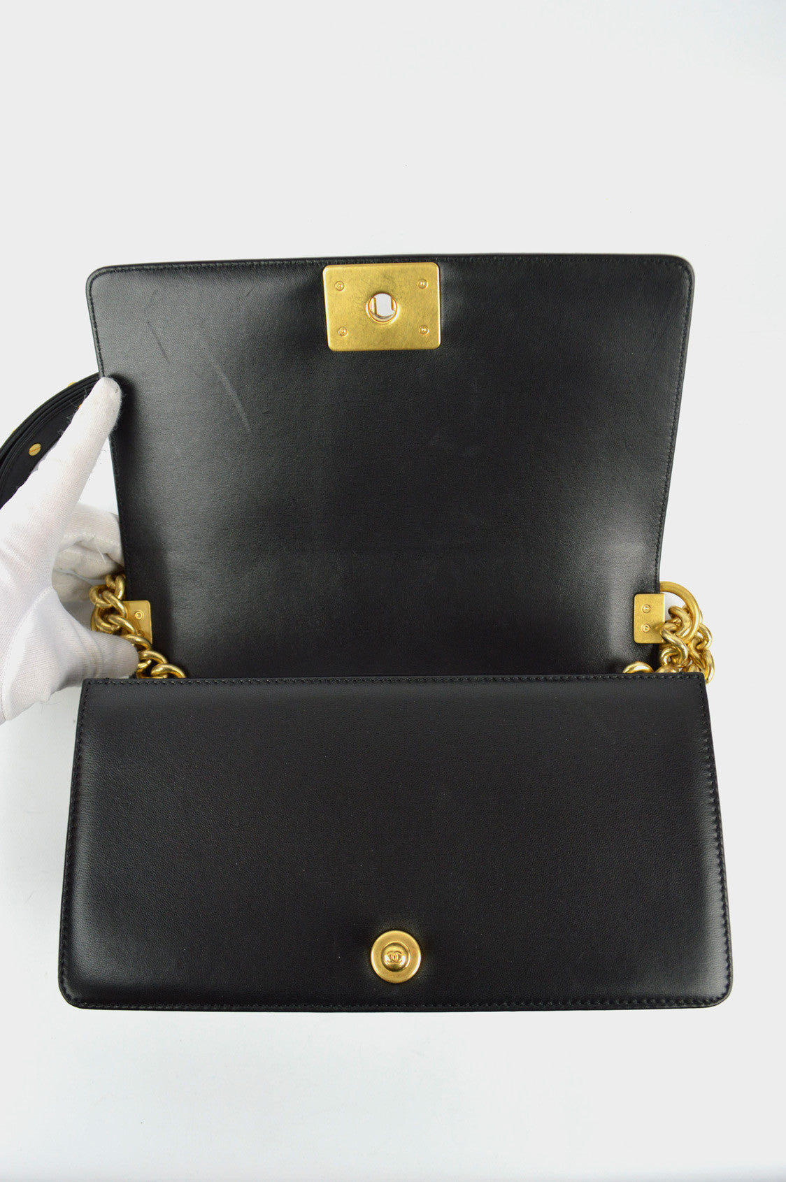 Black Lambskin Old Medium Boy Bag GHW