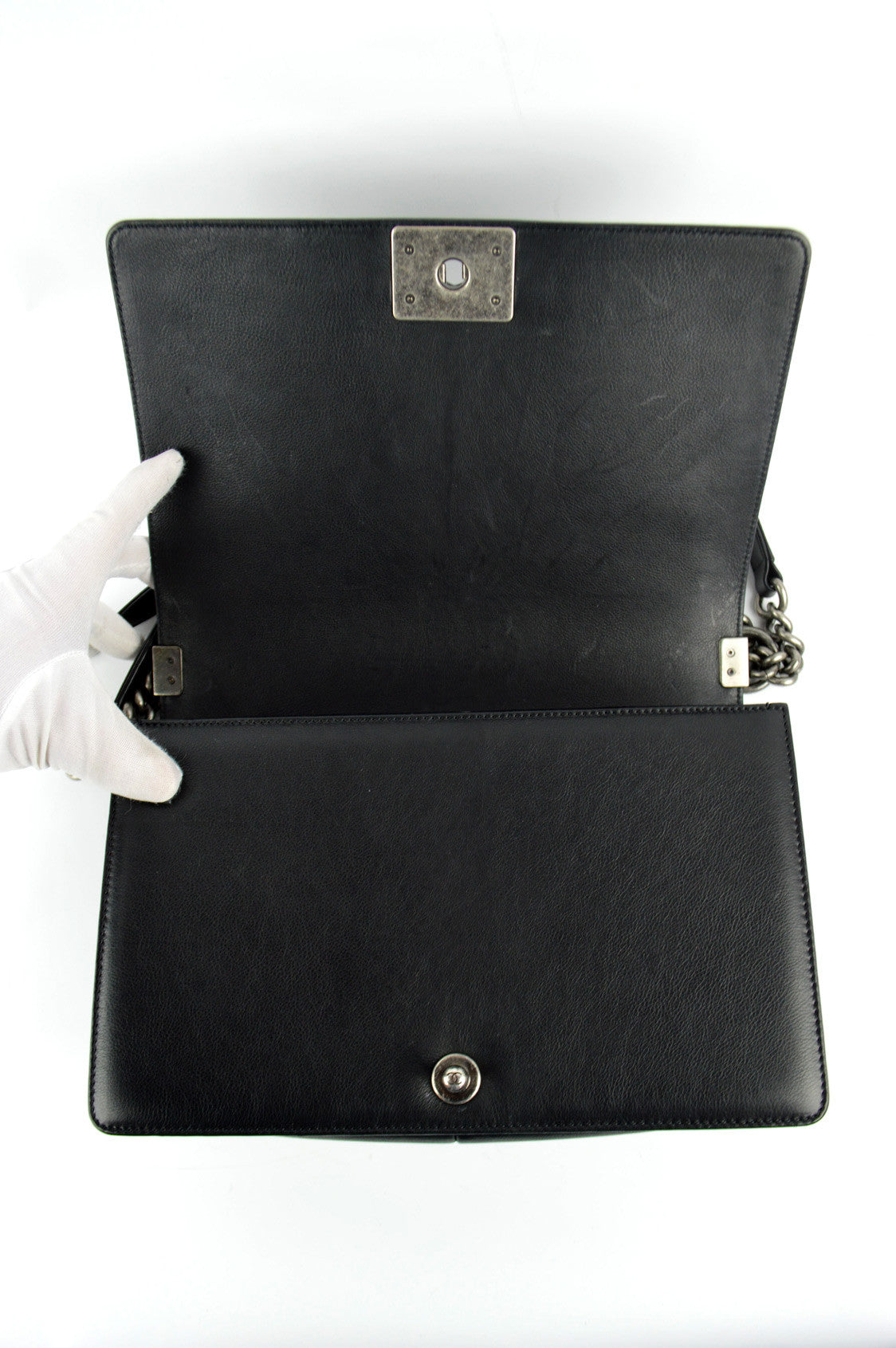 Black Calfskin New Medium Boy Bag RHW
