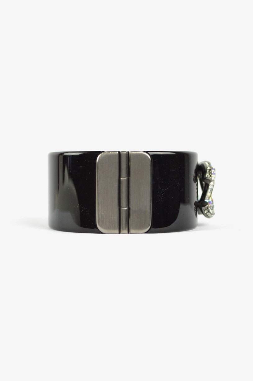 CHANEL Black Resin Cuff With CC Crystal logo