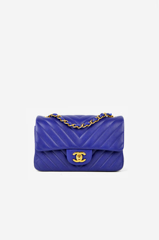 Indigo Lambskin Chevron Rectangular Mini Bag GHW