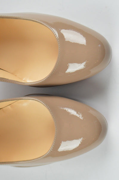 Nude Patent Leather New Simple Pumps