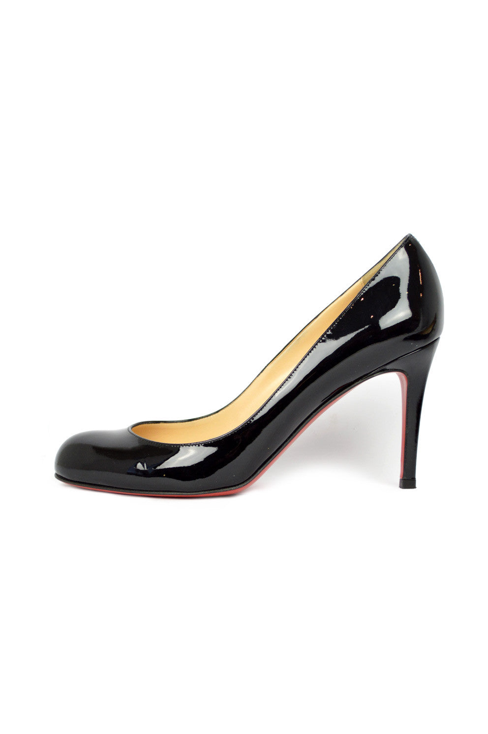 Black Patent Leather Simple Pumps 85