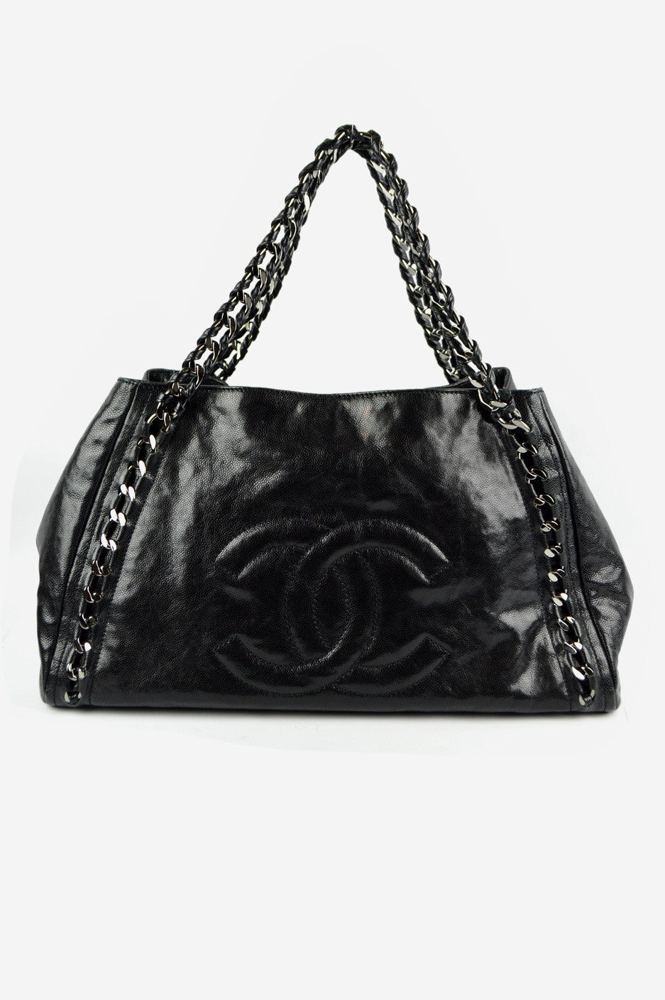 Black Caviar Modern Chain East-West Shoulder Bag