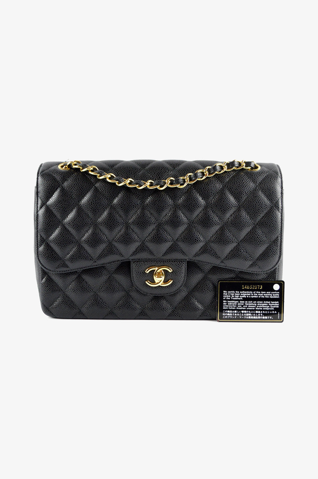 Black Caviar Jumbo Double Flap Bag GHW