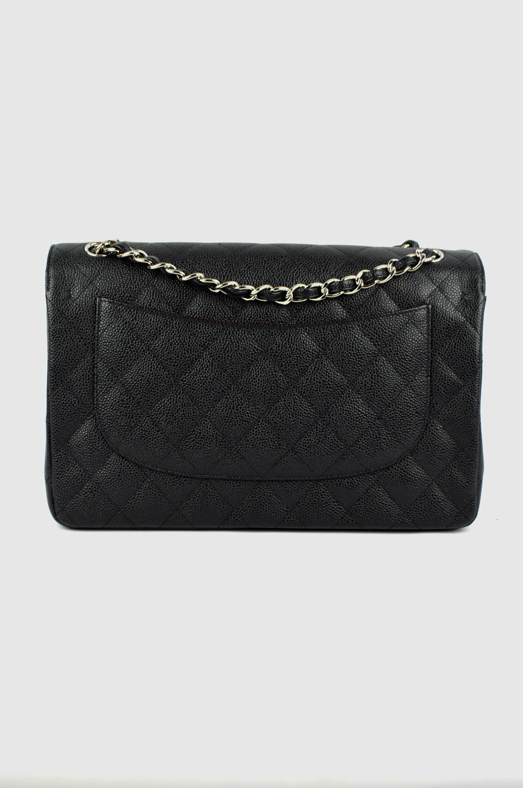 Black Caviar Jumbo Double Flap Bag SHW