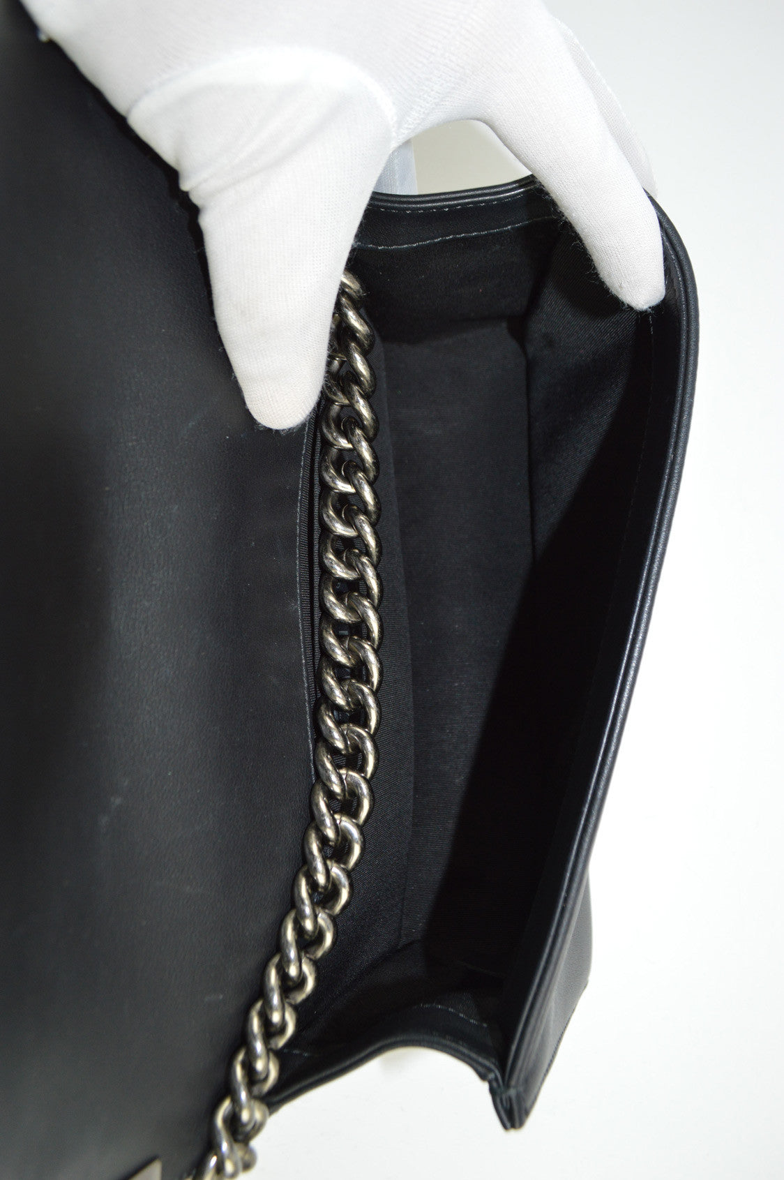 Black Lambskin Old Medium Chevron Boy Bag RHW - ON LAYAWAY
